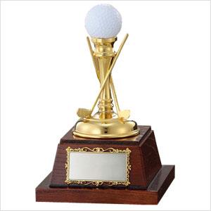 記念ゴルフボール飾りトロフィー(ゴールドクラブ)